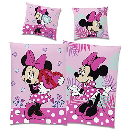 Minnie Mouse Bettwäsche-Set Wendemotiv Herz Pink 135 x 200 cm + 80 x 80 cm - 100% Baumwolle in Linon-Qualität mit YKK-Reißverschluss Renforcé Minnie Maus Disney Mickey Sweet Love Deutsche Größe