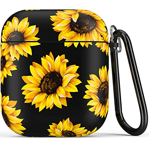 Airpod Case,Flexible Silicone Cover Cases for Airpods 1st/2nd with Cute Sunflowers Floral Design for...