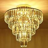 MonDaufie Crystal Chandelier 10 Lights Dimmable Gold Crystal Chandelier Semi Flush Mount Ceiling Light Fixture for Living Room Dining Room Bedroom Bathroom, H20.5'' x D20''