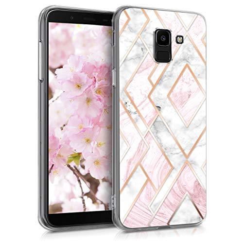 kwmobile Hülle kompatibel mit Samsung Galaxy J6 - Handyhülle - Handy Case Glory Mix Marmor Rosegold Weiß Altrosa