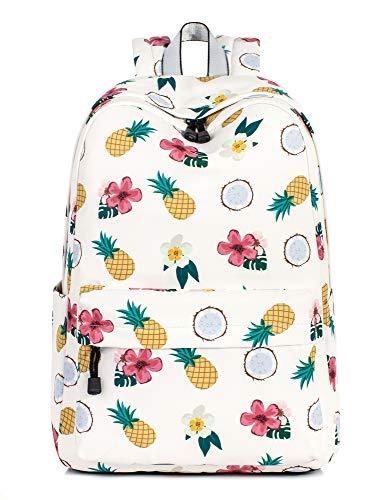 Leaper Pineapple Backpack Girls School Bookbags College Bags Beige
