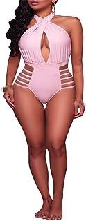 レディースプラスサイズの水着ワンピースハイウエスト水着おなかコントロール水着水着 (Color : Pink, Size : M)