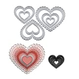 GJCrafts 3PCS Heart-Shaped Cutting Die Metal Love Heart Die Cuts for DIY Embossing Card Making, 3D Crafts Template Mould for Decorative Paper Dies Scrapbooking