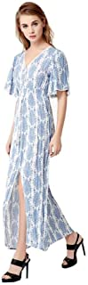 Women's V-Neck Button up Floral Print Split Maxi Dress