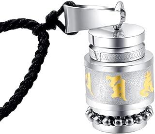 UNAPHYO Men's Stainless Steel Buddhist Mantra Om Mani Padme Hum Prayer Wheel Pendant Necklace