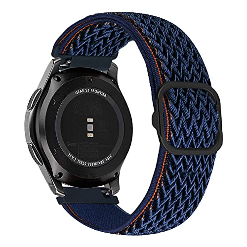 MroTech Compatibile con Huawei Watch GT 2 46 mm/GT 2e/GT2 PRO Cinturino 22 mm Ricambio per Samsung Galaxy Watch3 45mm/Gear S3 Frontier/Galaxy Watch 46mm Solo Loop Elastica Nylon Band-Onda Blu Navy