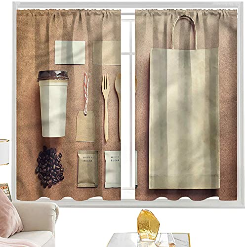 curtains for bedroom Coffee,Takeout Beans Spoon Sugar W42 x L84 Inch rod pocket curtains for bedroom