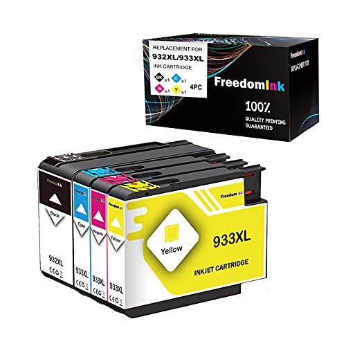 FreedomInk 932 933 - Cartuchos de tinta para HP 932XL 933XL (1 negro, 1 cian, 1 magenta) amarillo).