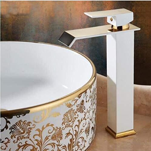 ZHQHYQHHX Grifo de cascada de color dorado y blanco, grifo de baño alto, grifo del lavabo del baño grifo mezclador caliente y frío del fregadero (color: blanco alto y oro, se envía de China)