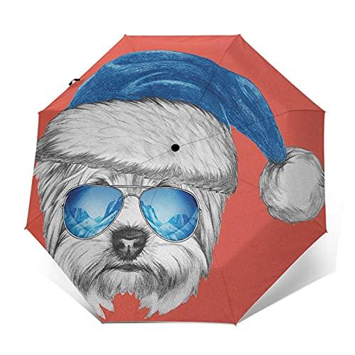 Paraguas Plegable Automático Impermeable Aviador de Espejo con Gorro de Papá Noel Azul, Paraguas De Viaje Compacto a Prueba De Viento, Folding Umbrella, Dosel Reforzado, Mango Ergonómico