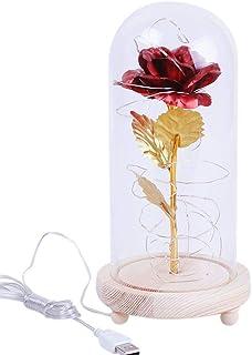 Ohhome feuille d'or artificielle fleur rose et cordon d'alimentation LED..