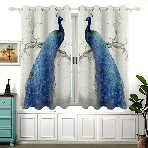 MNSRUU Room Darkening Window Curtain 2 Panels, Retro Art Peacock Pattern Blackout Curtains with Grommets for Bedroom Living Room, 54 inch Length