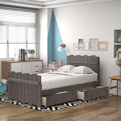 Twin Bed with 2 Drawers, Twin Wood Platform Bed for Kids Teens Juniors Adults Wooden Single Bed for Bedroom, No Box Spring Needed,Gray