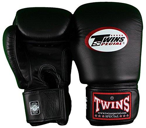 Twins Guantes de boxeo Muay Thai, color negro, 12 oz.