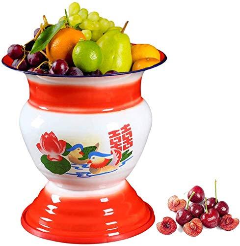 FEXAIX Cesta de frutas tradicional china de la década de 1960, cubitera de champán con tapa, cubeta de hielo con doble aislamiento, cuenco esmaltado de decoración de mesa y cocina antigua china