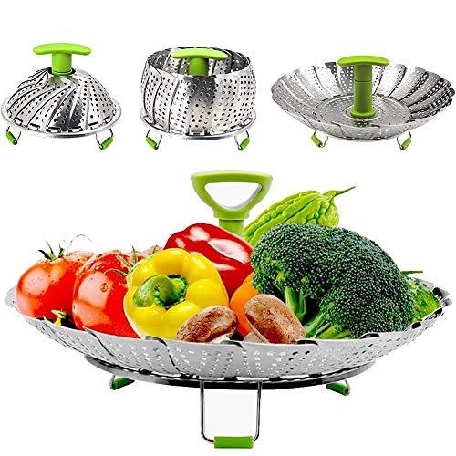 YZCX Cesta Vaporera Plegable de Acero Inoxidable 14cm - 23cm Cocina Vaporera para Verduras con Mango Extensible y Patas Antideslizantes