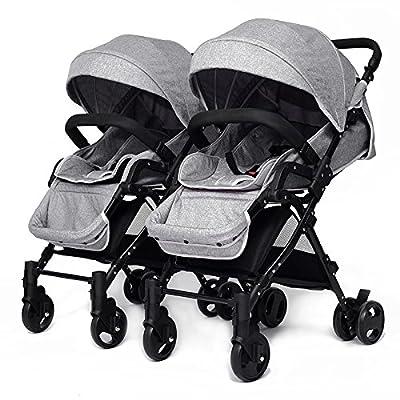 YIHANGG Twins Baby Pram 2 En 1 Cochecito De Bebé Carrito Luxury Reversible Toddler High View Cochecito De Bebé Recién Nacido,Grey