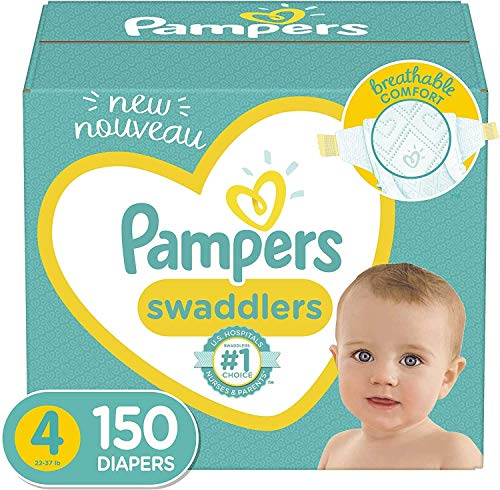 Price comparison product image Baby Diapers Size 4,  150 Count - Pampers Swaddlers,  ONE MONTH SUPPLY (Packaging and Prints on Diapers May Vary)