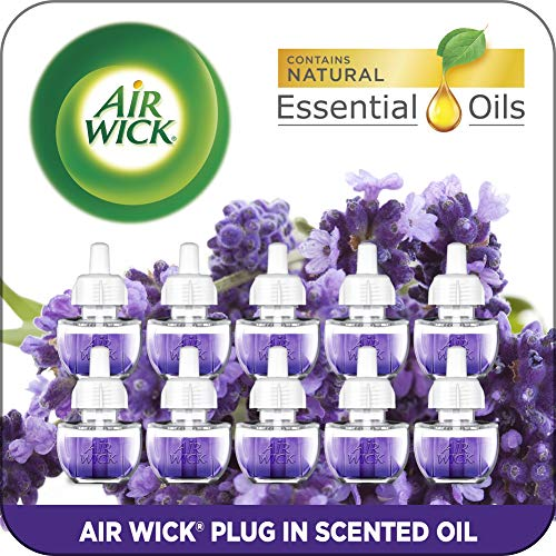 Air Wick Plug in Scented Oil Refills, Lavender and Chamomile, Eco Friendly, Essential Oils, Air Freshener, 0.67 Fl Oz, Pack of 10