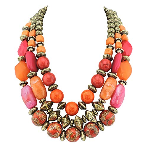 Bocar 3 Layer Chunky Statement Beaded Necklace Fashion Multi Layer Women Collar Necklace (625)