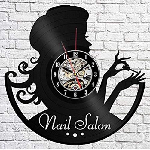 Reloj de pared de vinilo – Reloj de pared de vinilo para miembros de la familia Happy Bierthday Party regalo para él ella mujer hombre 12 pulgadas (niña de uñas)