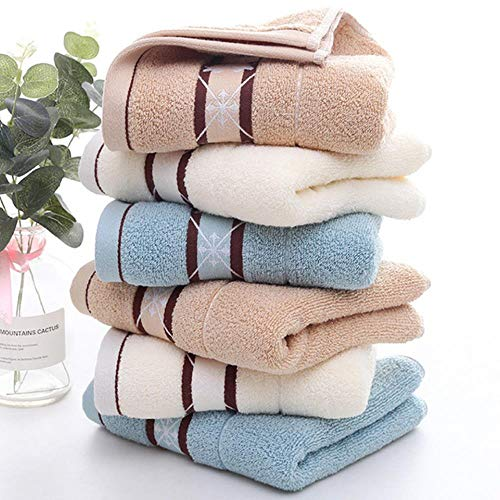 LASISZ Quick Drying Cotton Towel Stripe Face Hand Bath Cloth Bathroom Absorbent 35 * 75cm Home Gift,Y14-2,35x75cm