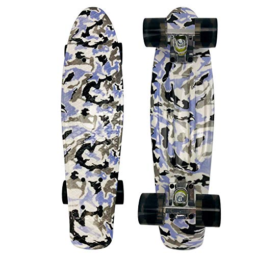zzzddd Cruiser,Weißer Und Blauer Tarnkreuzer Vierrädriges Kleines Fisch-Skateboard Road Single Tilt Skateboard, Leichtes Classic Child Adult Outdoor-Sport Brush The Street Skateboard