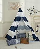 DalosDream 100% Cotton Canvas Indoor Playhouse Toy Teepee Play Tent for Kids Toddlers with Mat Floor and Carry Bag-Navy Striped