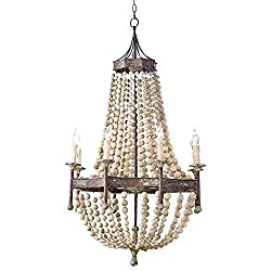 Amazon French Country Chateau Chandelier Wood Beads Rustic