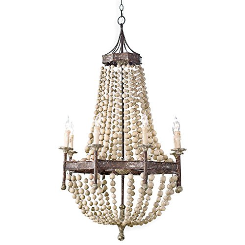 French Country Chateau Chandelier Antique Scalloped Bead Lamp (Wooden)