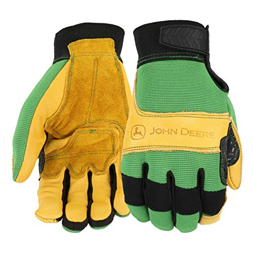 John Deere JD00009-XL West Chester Leather Gloves - X-Large, Grain Cowhide Leather Palm, Spandex Back, Hook and Loop Wrist, Yellow Green