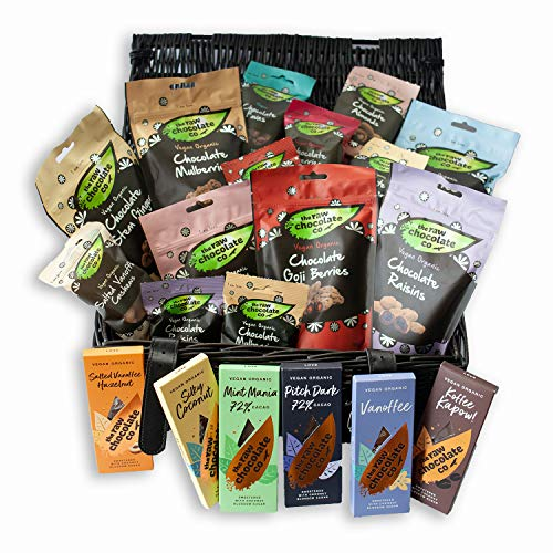 The Raw Chocolate Company Hamper - Organic Vegan Chocolate Gifts, 20 Bars & Bags of Vegan Snacks & Sweets, Dairy & Gluten Free, Vegan Christmas Chocolate Gifts for Men & Women