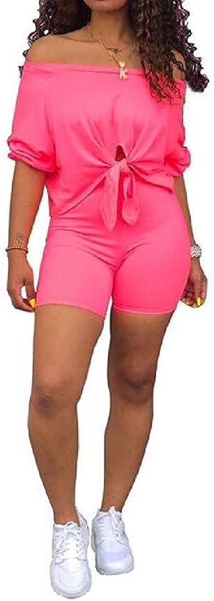 激しい不明瞭土曜日女性のワンショルダーシャツとモトバイカーショーツソリッド2個半袖スキニートラックスーツスポーツ衣装 Pink Small