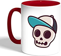 Printed Coffee Mug, Red Color, Skull with a cap
