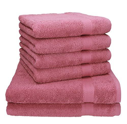 Betz 6-TLG. Handtuch-Set Premium 100% Baumwolle 2 Stück Duschtücher 70x140 cm 4 Stück Handtücher 50x100 cm (Altrosa)