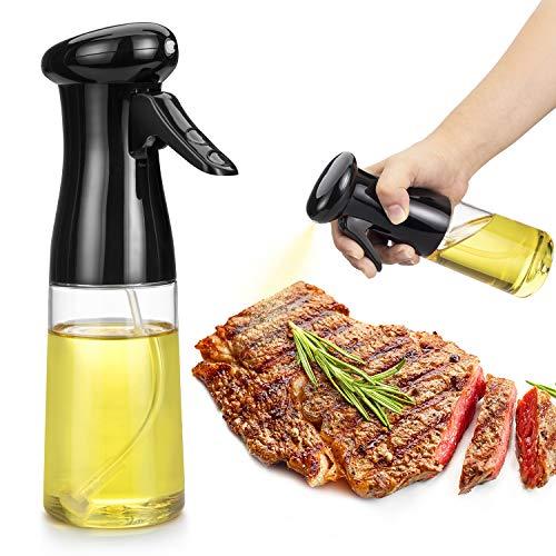 Oil Sprayer for Cooking, Food Grade Olive Oil Sprayer , 210ml Oil Mister, Premium Oil Bottle, Widely Used for Air Fryer, BBQ, Baking, Salad (Black)