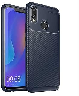Huawei Honor Play Kılıf Anti Parmak İzi Karbon Görünüm Silikon Esnek Kapak Lacivert
