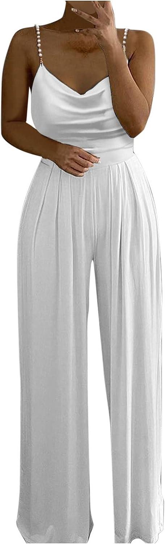 Misaky Women Jumpsuits Sexy Boho Soild Pearl Sling Top Wide Leg Pants Jumpsuit Harem Pants Loose Rompers