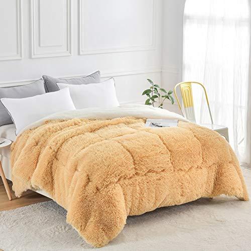 KOKIN Bettdecken Lamm Samtstoff Winter Decke Warm Kaschmir Quilt Hygroskopisch Atmungsaktiv Daunendecke Single Verdoppeln,B,200 * 230cm(3.5kg)