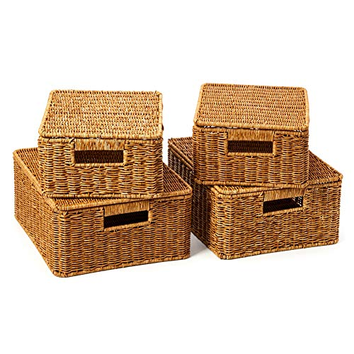 EZOWare Set of 4 Resin Woven Storage Basket Box with Lid, Wicker Hamper Shelf Organiser Bin Containers with Side Handles for Kitchen, Living Room, Bathroom, Bedroom - Natural Brown