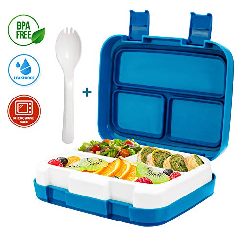Kids Lunch Bento Box, Stackable Freshware Meal Prep Containers | Reusable Lunch Boxes 3 Compartment Large Food Contain Space Children Food Box with Removable Inner Leakproof Tray & Steady Latches for
