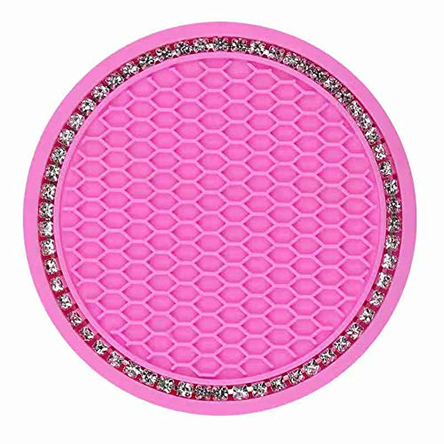 choolo Pink Vehicle Bling Cup Holder Insert Coaster Car Interior Accessories-2.75 inch Silicone Anti Slip Crystal Rhinestone Car Coaster-Universal (Pack of 2)
