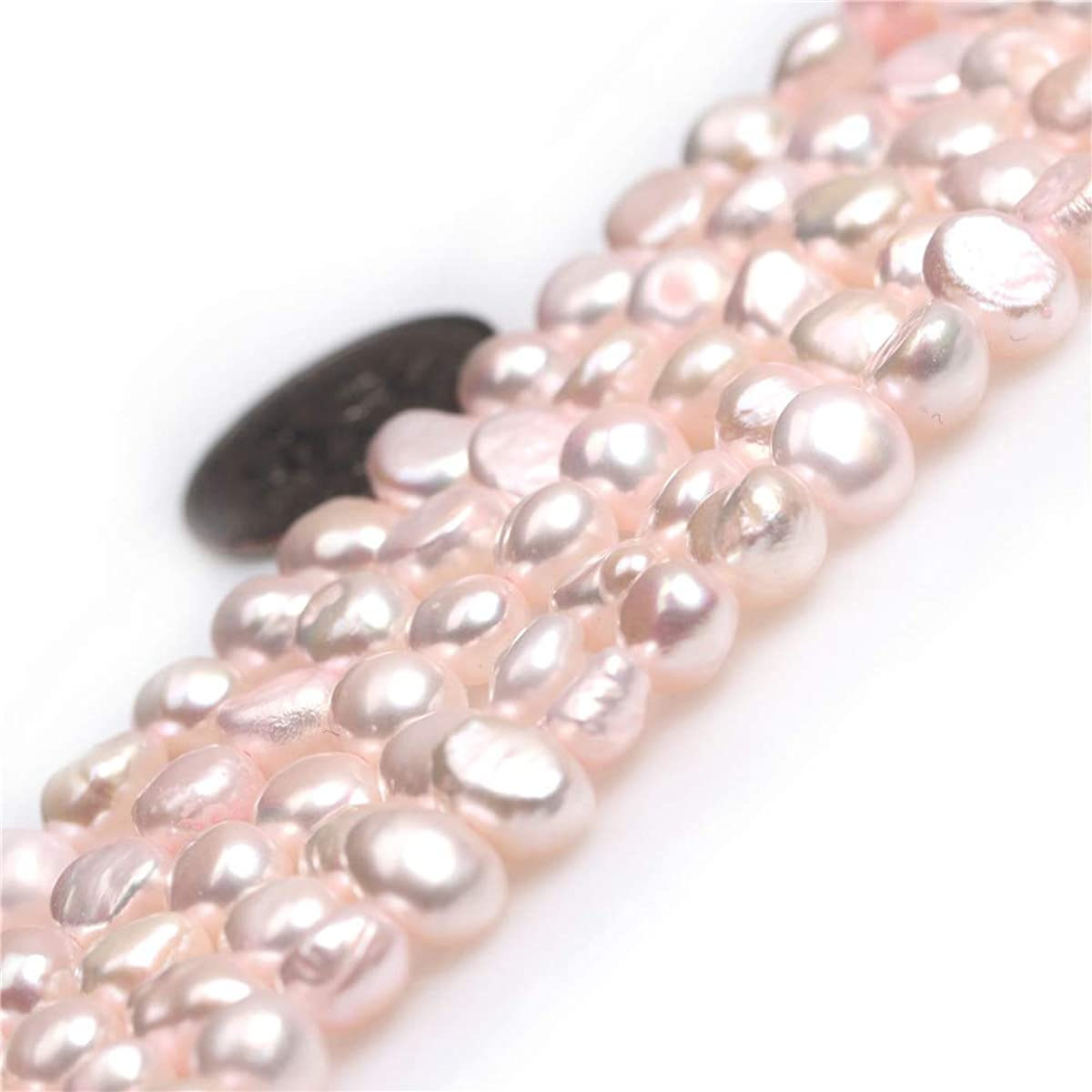 Freshwater Cultured Pearl Beads for Jewelry Making Gemstone Semi Precious 6-7mm Freeform Pink Color 15