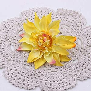 BoKa Store – 5pcs Silk Dahlia Peony Flower Artificial Flower Autumn Vivid Leaves DIY Wedding Flower Wall Home Flower Arrangement Gardening – Yellow Decorative Flowers