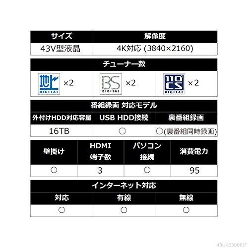 『LG 43V型 液晶 テレビ 43UK6300PJF 4K HDR対応 直下型LED 2018年モデル』のトップ画像