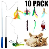 Teeyee [10 in 1] Cat Feather Toys, Cat Retractable Teaser Wand Toy Set,Interactive Cat Chaser Toy for Exercising Kitten or Cat,Included 2 Wands & 8 Refills Feathers (10 in 1)