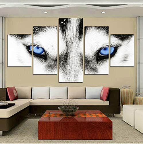 RDCHY Cuadro Lienzo Moderno 5 Piezas Ojo de Lobo Animal HD Imagen De Póster Impresión Artística, Combinación Pintura Decorativa para Salón De Hogar/Sin Marco
