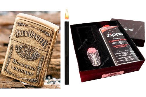 Zippo Accendino Jack Daniels Brass Label 3D in Regalo Set & accendigas Black Matte
