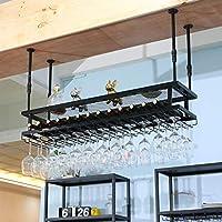 家の装飾調節可能な赤ワイングラスホルダーぶら下げワインラック産業用2層ヨーロピアンスタイルアイアンブラックシャンパングラスラックレトロクリエイティブカップホルダーはあらゆるタイプのガラス製品ラックを保持します