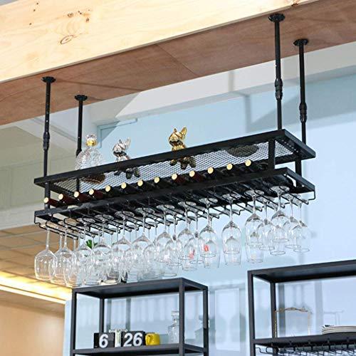 Weinregale, Weinregal Adjustable Rotweingläser Halter hängend Weinregale Industrie 2-Tier europäisches Art-Eisen-Schwarz Champagne-Glas-Rack Retro Kreativ-Becherhalter jede Art von Glaswaren R Hält WT